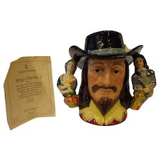 Vintage Royal Doulton King Charles I D6917 Large Character Jug w/ Certificate Limited Edition
