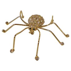 Large Vintage KC Spider Brooch Stylized Pin