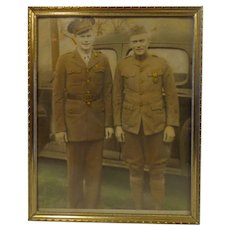 Rare WWII Photo Father & Son in American Army Uniforms Military