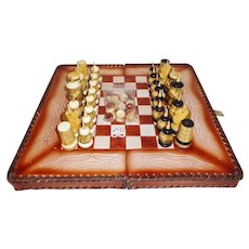 Handmade & Painted Kyrgyz Knights Kyrgyzstan Leather & Wood Chess Set Backgammon Board