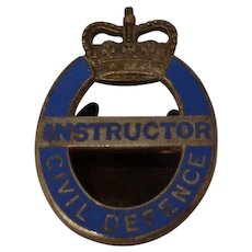 WWII British Civil Defence Instructor Enamel Button Hole Badge