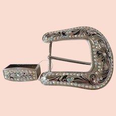 Oversize Cowgirl Rhinestone Belt Buckle Flashy Statement Piece American Western Wear