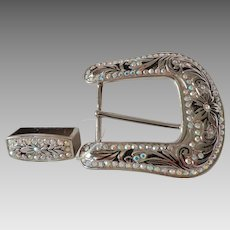 Oversize Cowgirl Rhinestone Belt Buckle Flashy Statement Piece American Western Wear