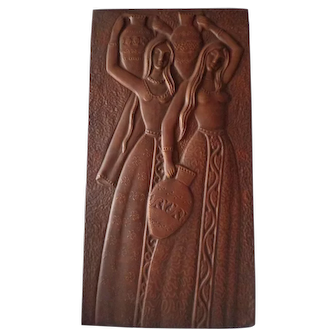 Vintage Russian Copper Relief Plaque of Two Young Maidens Carrying Water