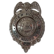 Old Rare Pennsylvania Police Chief Badge Catawissa PA