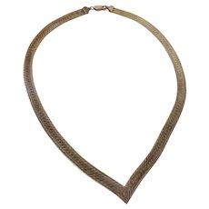Vintage High Quality Italian Sterling Herringbone 7 mm Wide Necklace