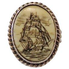 Vintage 1978 Handmade Sterling Ring Three Masted Pirate Ship Scrimshaw on Bone Nautical