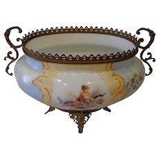 Fabulous Antique French Art Nouveau Planter Jardiniere Porcelain & Bronze with Cherubs