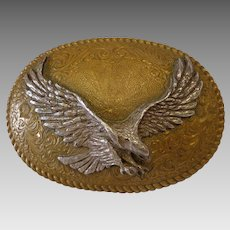 Impressive Bronze & Silver American Eagle Belt Buckle Western Wear Cowboy Patriotic