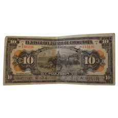 Mexican Revolution 1913 Era Bank Note Series A State of Chihuahua Mexico