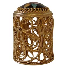 Vintage Russian Gold Plated Enamel & Porcelain Thimble Filigree Design Sewing Notion