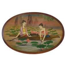 Fabulous Hand Painted Southeast Asian Folk Art Plaque Maidens Harvesting Water Lilies