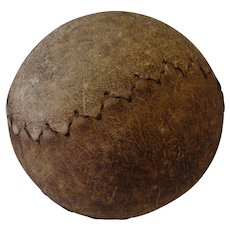 Antique Large Softball Leather Covered Sports Collectible