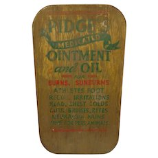 Vintage Rare Veterinary Sign Pidge's Medicated Ointment & Oil Handpainted on Board