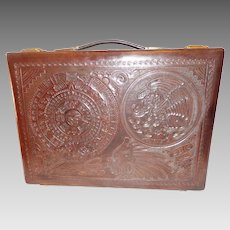 Vintage Tooled Leather Briefcase Aztec Motif Briefcase Mexican Made