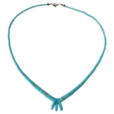 Vintage Navajo Heishi Morenci Turquoise Necklace with Gorgeous Red Matrix