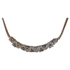 Fabulous Quality Tanzanite & Cubic Zirconia Sterling Necklace Made in Canada