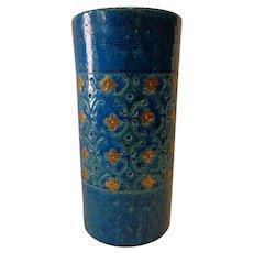 Fabulous Rare 1960s Bitossi Turquoise & Gold Ceramic Vase Berkeley House Italy 887 San Francisco