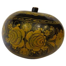 Huge Vintage Mexican Painted Gourd Aesthetic Folk Art Black & Gold Floral