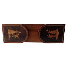 Rare 1920s Italian Walnut Expandable Bookends Marquetry of Two Happy Gypsies Dancing