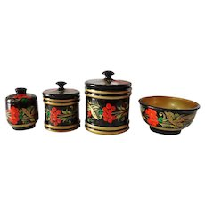 Vintage Russian Khokhloma Enamelware Wooden Canister Set with Mixing Bowl Hand Painted