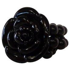 Vintage Black Lucite Beaded Stretch Bracelet Rose Flower Mourning or Evening Wear
