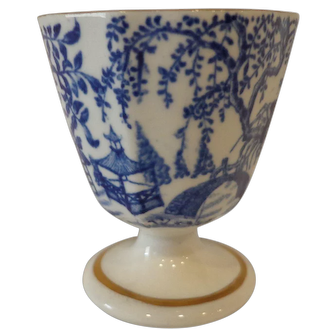 Vintage Royal Crown Derby Egg Cup Asian Theme Blue & White Bone China
