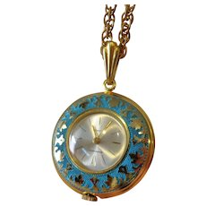 Fabulous Vintage Guilloche Enamel Watch Pendant by Baroness 17 Jewels