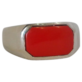 Vintage Sterling Silver & Red Coral Ring Very Nice Quality Solid Back Sz 9 Modern Octogon