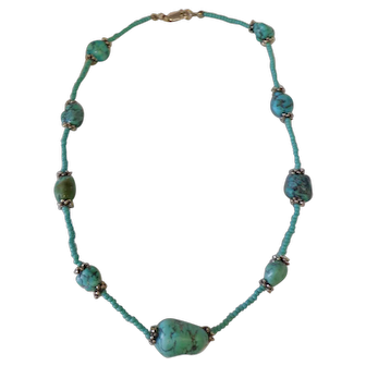 Beautiful Chunky Turquoise Necklace Modern Design