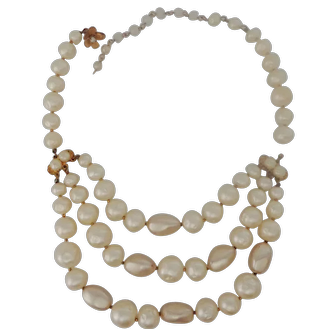 Rare Robert DeMario three Strand Baroque Faux Pearl Necklace Early 1950s