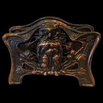 Vintage 1920s Owl Motif Copper on Cast Iron Letter or Napkin Holder