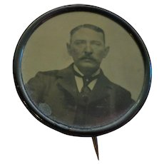 Antique Edwardian Mourning Pin Badge Tintype