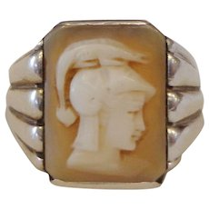 Beautiful Art Deco Gents Cameo Ring Minerva / Athena Themed .900 Silver Mens