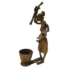 Vintage African Bronze Mother and Child Sculpture