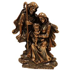 Vintage Holy Family Copper Relief Wall Plaque Made in Italy Catholic Christian Religious