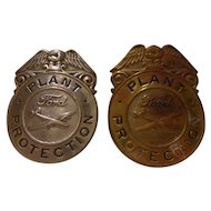 Rare WWII Set of 2 Ford Plant Protection Badges Aviation Division  Not Police