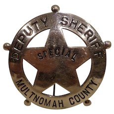 WWII Special Deputy Sheriff Badge from Multnomah County Oregon Portland OR Police