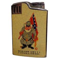 Vintage Civil War Commemorative Lighter Music Box Plays Dixie Flag Novelty