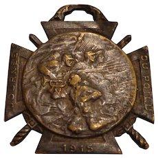 WWI P. Bargas Journee du Poilu French Badge Fob Medal 1914 1915 1916 Art Nouveau