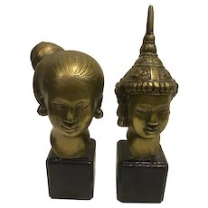 Lovely Set of Vintage Pre War Thai Busts Bronze / Brass Alloy with Good Patina
