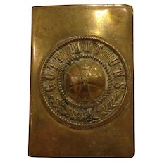WWI Iron Cross Trench Art Match Box Cover Brass German Military 1914