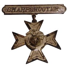 WWII Era Sterling USMC Sharpshooter Qualification Medal Badge Marine Corps