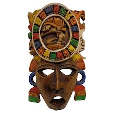Vintage Carved Wooden Aztec / Mayan Mask Mexico Latino Decor