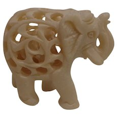 Vintage Carved Alabaster Elephant with Baby