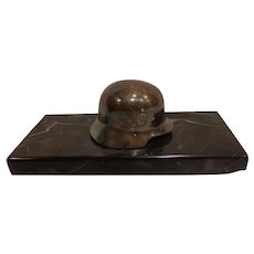 WWII Paperweight German Helmet with  Marble Base