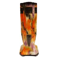 Fabulous 1930s Czech Alienware Vase Art Deco Orange Flame and Purple
