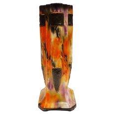 Fabulous 1930s Czech Alienware Vase Art Deco Orange Flame and Purple