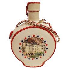 Vintage Leather Covered Flask from Postojna Slovenia Yugoslavia Bottle