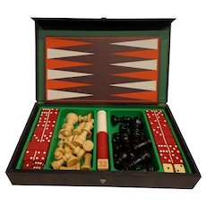 Quality Vintage Gentleman's Travel Gaming Set c. 1950s Chess Checkers Backgammon Dominoes Game
